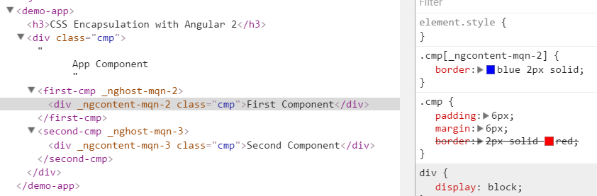 Rendered output of Angular CSS encapsulation