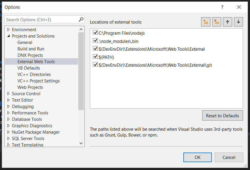 Visual Studio NodeJS version